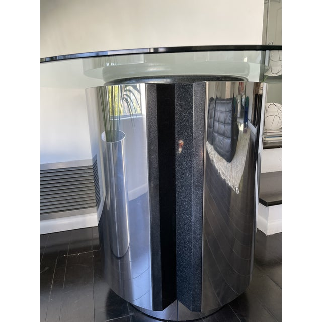 1980s 1980s Pace Collection Chrome and Granite Dining Table With Glass Top For Sale - Image 5 of 8