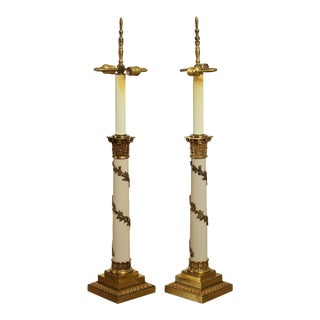 Stiffel Neo-Classical Style Pair Ivory Lacquered And Brass Column Table Lamps For Sale