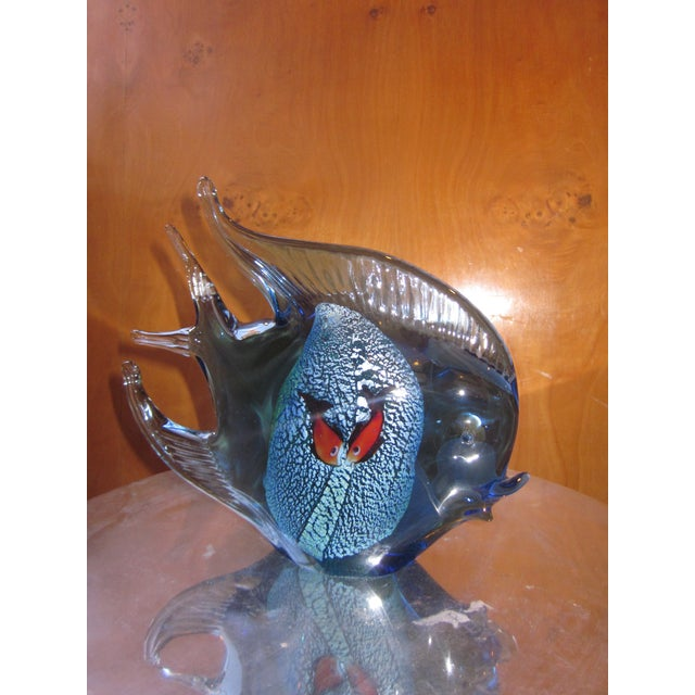 1960s Murano Glass Italian Art Glass Blue and Red Figural Fish Sculpture Object For Sale - Image 11 of 11