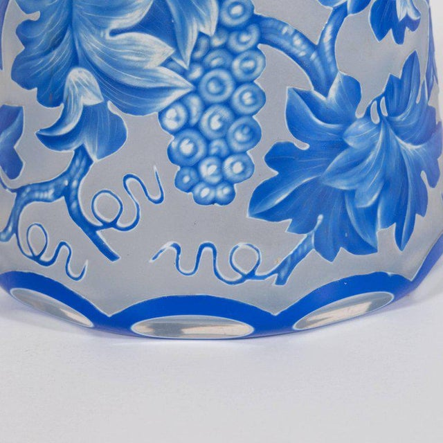 French Art Deco Decanter in Ancient Blue with Grape Vine and Leaf Motif For Sale - Image 9 of 10