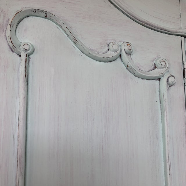 Aqua French Provencal Large Scale Armoire For Sale - Image 8 of 13