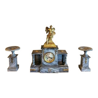 19th Century French Napoleon III Period Marble Mantel Clock Set - 3 Pieces For Sale