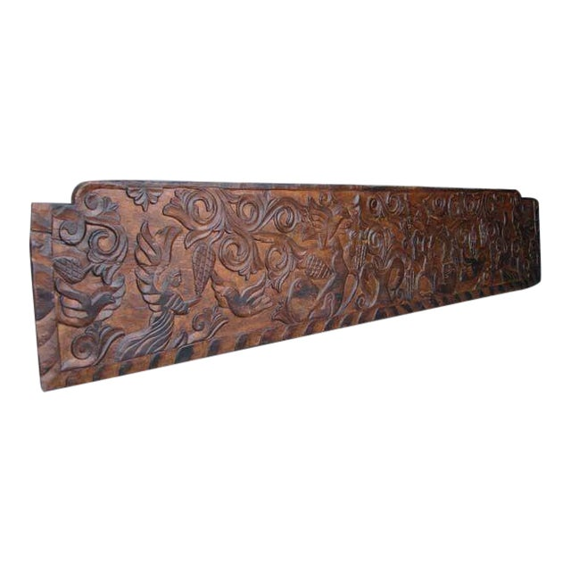 19th Century Antique Primitive, Carved Rustic Wooden Panel or Headboard For Sale