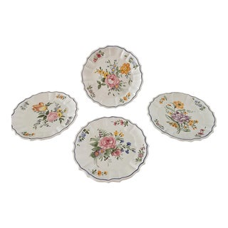 1980s Campagnolo Arteluce Bassano Handpainted Plates for Smithsonion - Set of 4 For Sale