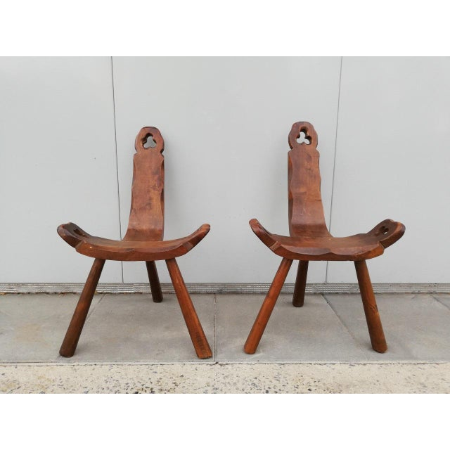 1950s Vintage Tripod Antique Brutalist Chairs- a Pair For Sale - Image 9 of 9