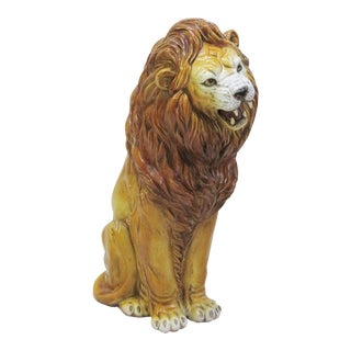 Italian Terra Cotta Lion Statue For Sale