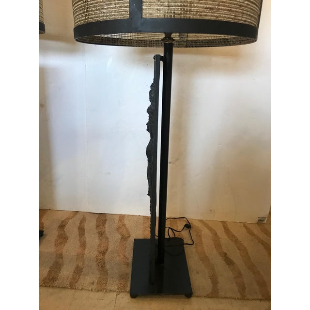Figurative Late 19th Century Antique Iron Table Lamps - A Pair For Sale - Image 3 of 13
