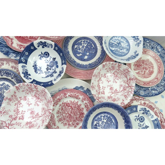 Blue Mismatched Ironstone China Set, Service for 6 For Sale - Image 8 of 11