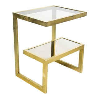Mid-Century Modern Cantilevered Gold and Smokey Glass Side Table For Sale
