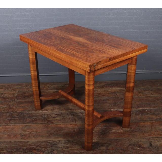 1930s Art Deco Walnut Folding Tea Table For Sale - Image 6 of 12
