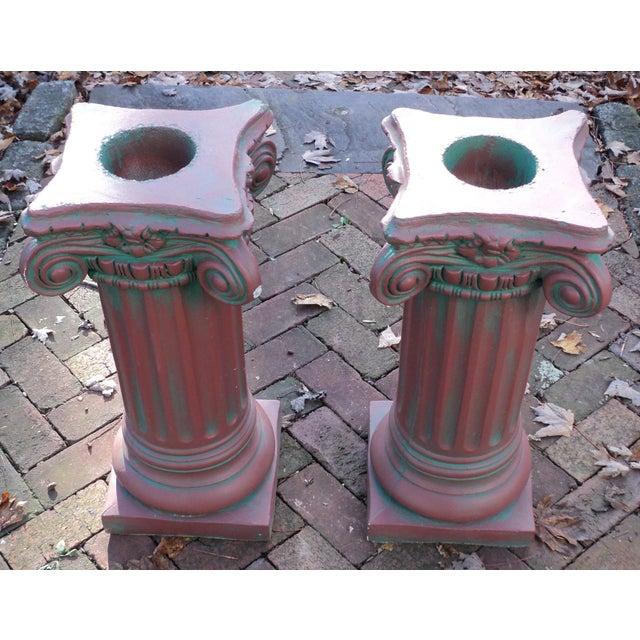 Antique Painted Concrete Corinthian Columns - A Pair For Sale - Image 5 of 10