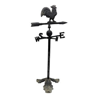 Late 20th Century Vintage Farmhouse Cast Iron Rooster Weathervane on Stand For Sale