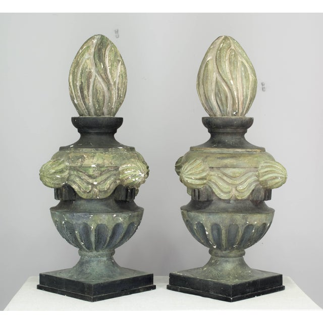 Early 20th Century Pair of French Zinc Architectural Finials For Sale - Image 5 of 11