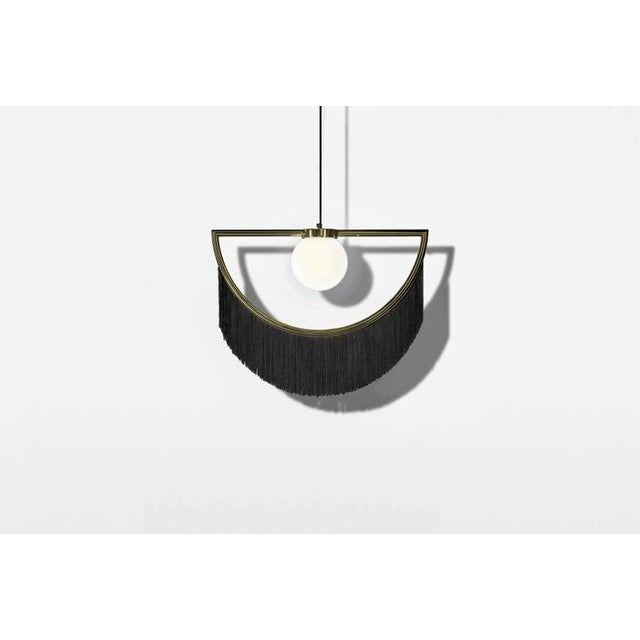 Wink Gold-Plated Pendant Lamp With Black Fringes For Sale - Image 4 of 5