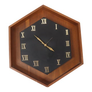 1970s Mid Century Modern Howard Miller Wood Roman Numeral Wall Clock Usa For Sale