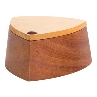Vintage Rodeo Creations 2 Tone Modern Huon Wood Box Jewelry, Keepsake Box For Sale