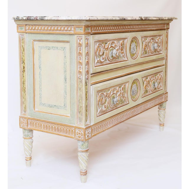 Painted Venetian Style Commode With Marble Top For Sale - Image 10 of 12