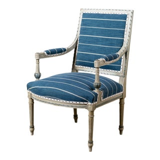 Antique Neoclassical Blue Reupholstered Armchair For Sale