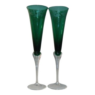 Late 20th Century Lenox Holiday Gems Toasting Flutes in Green - a Pair For Sale