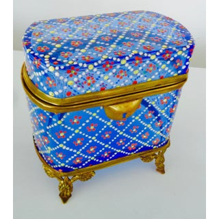 Antique Bohemian Blue Glass Box With Enameled Design Preview