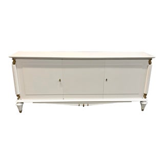 1940s Vintage French Art Deco White Lacquered Sideboard or Buffet. For Sale