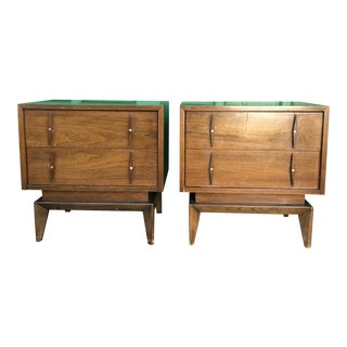 1960s Mid Century Nightstand With Walnut Inlay-a Pair For Sale