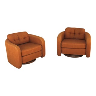 Mid-Century Orange Swivel Club Chairs - a Pair