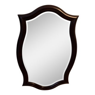 Curved Wooden Mahogany Beveled Mirror For Sale