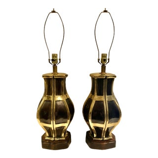 Mid Century Patina Brass Lamps - a Pair For Sale