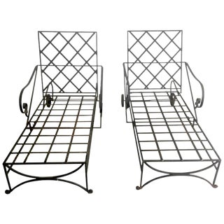 Mid-Century Hand-Wrought Iron Chaises - A Pair