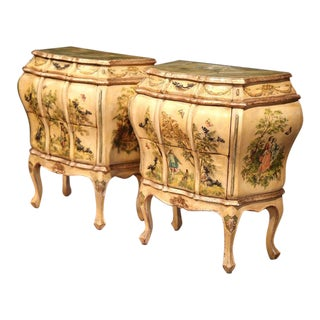 Mid-20th Century Italian Carved Hand-Painted Bedside Tables With Drawers - a Pair