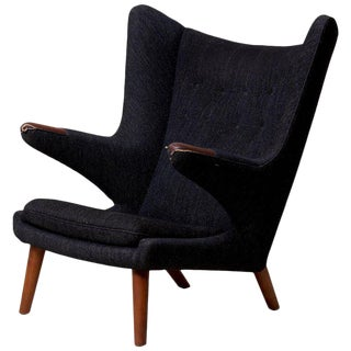 Hans J. Wegner Papa Bear Chair in Black Fabric For Sale