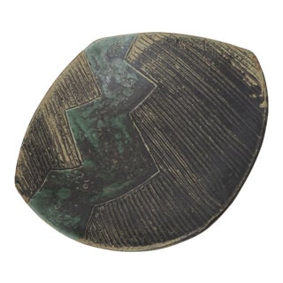 Green & Black Abstract Ceramic Bowl For Sale