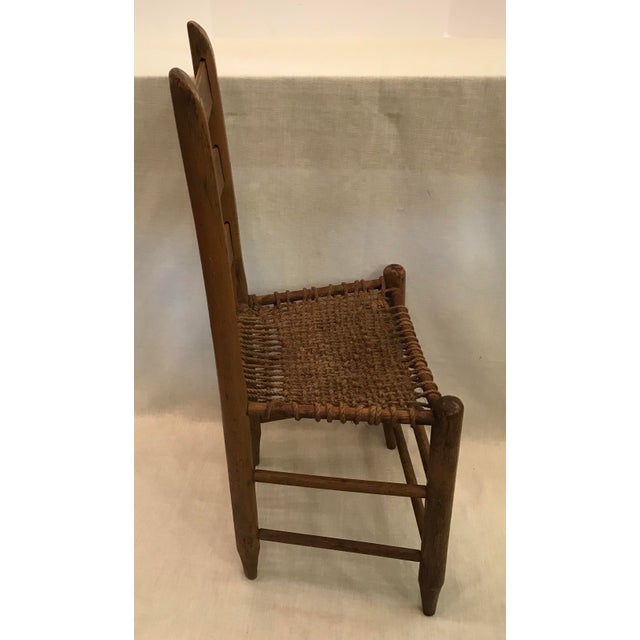20th Century Rustic Ladder Back Chair With Rope Seat For Sale - Image 4 of 9 - 20th Century Rustic Ladder Back Chair With Rope Seat Chairish