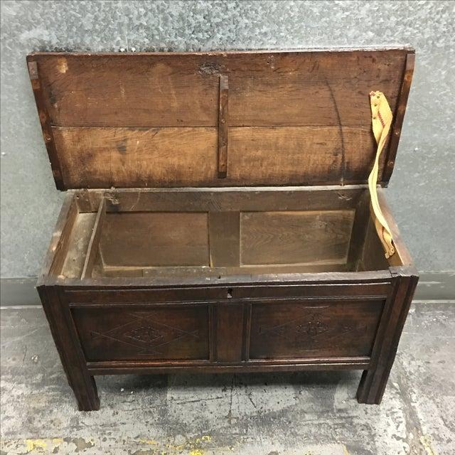 Vintage Oak Carved Chest or Trunk - Image 8 of 9