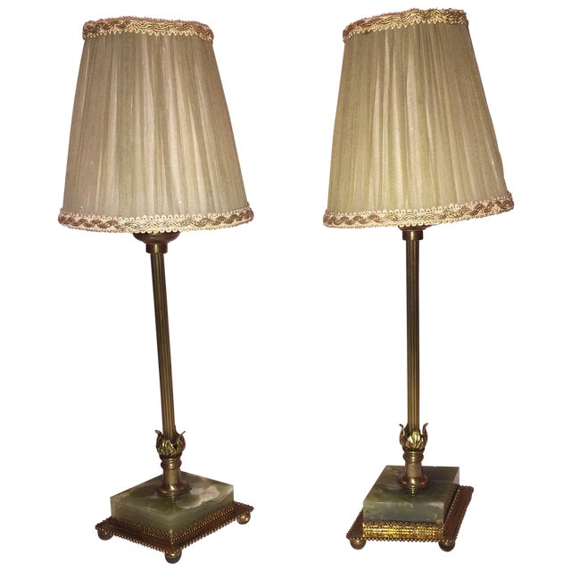 Vintage Brass & Marble Table Lamps - A Pair - Image 1 of 6