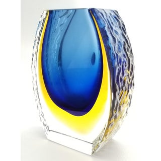 Murano Blue and Yellow Sommerso Glass Vase by Bucella Cristalli - Mandruzzato Style Venetian Italian Mid Century Modern Palm Beach Boho Chic Preview