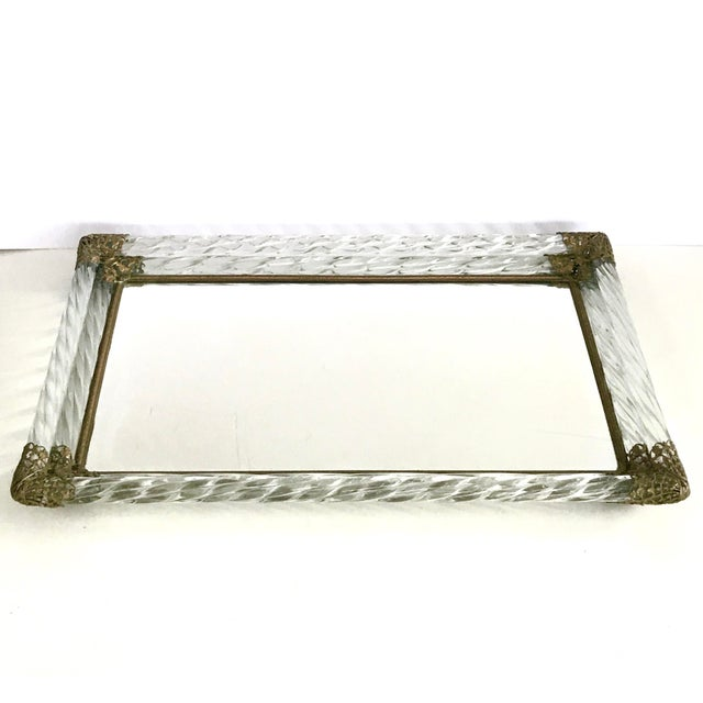 Gold Antique Art Deco Murano Double Twisted Rope Glass Mirrored Vanity Tray Brass Filigree Corners For