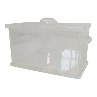 Rectangle form Lidded Lucite Ice Bucket For Sale