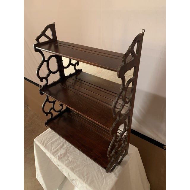 Antique Chippendale Carved Mahogany 3 Tier Wall Hanging Display Rack For Sale - Image 11 of 12