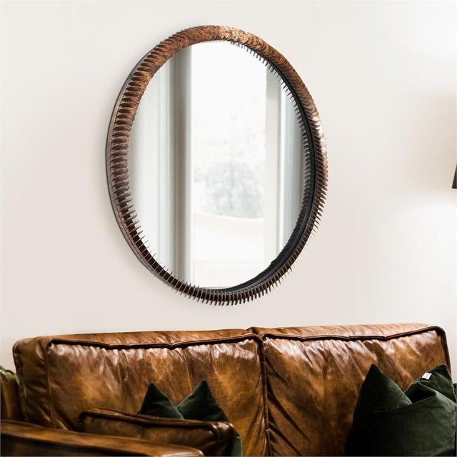 Kenneth Ludwig Chicago Kenneth Ludwig Coined Copper Mirror For Sale - Image 4 of 6