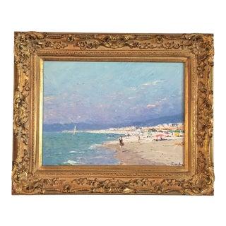 Impressionist Beach Painting by Niek Van Der Plas For Sale