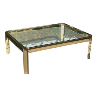 1980s Regency French Architectural Solid Brass Coffee Table For Sale