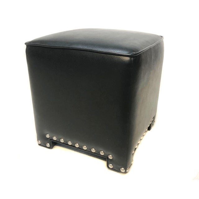 Stupendous Set Of 3 Black Faux Leather Ottomans Bralicious Painted Fabric Chair Ideas Braliciousco