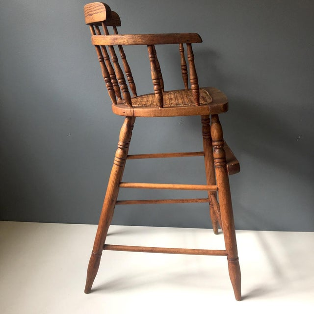 Antique Caned Seat Oak Youth Chair For Sale - Image 4 of 10 - Antique Caned Seat Oak Youth Chair Chairish