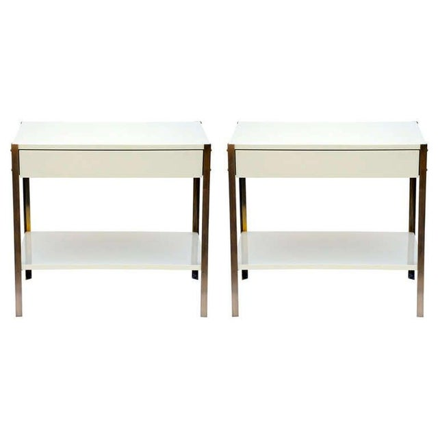 Pair of Minimalist Ivory Lacquer and Brass Nightstands For Sale - Image 11 of 11