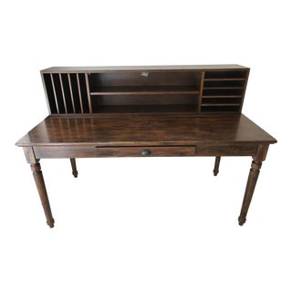 Mid-Century Modern Pottery Barn Printers Writing Desk and Letter File Hutch For Sale