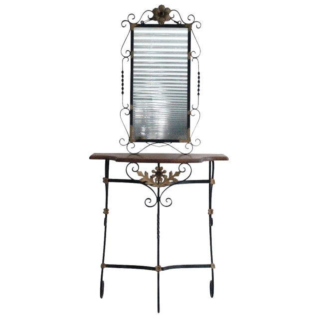 Gilded Iron & Walnut Console with Mirror - Image 1 of 4