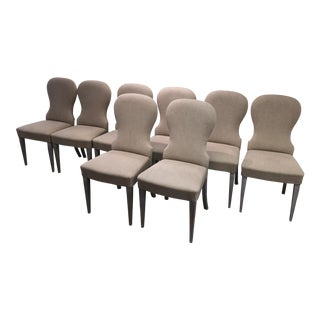 Italian Solid Beach Gercale-Khaki Magnolia Dining Chairs - Set of 8 For Sale
