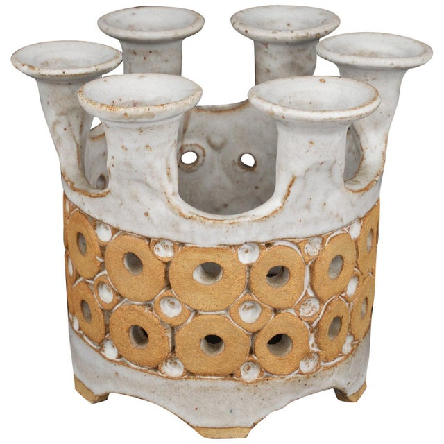 White 1960s Stoneware Crown Candelabra by Hal Lasky for Isla Del Sol Pottery For Sale - Image 8 of 8